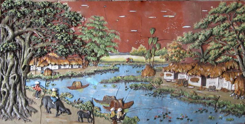 Lắp đặt thi công tranh gốm ốp tường Bát Tràng tại TP Vinh Nghệ An